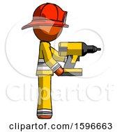 Orange Firefighter Fireman Man Using Drill Drilling Something On Right Side