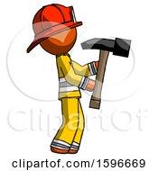 Orange Firefighter Fireman Man Hammering Something On The Right