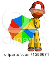 Poster, Art Print Of Orange Firefighter Fireman Man Holding Rainbow Umbrella Out To Viewer