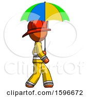 Orange Firefighter Fireman Man Walking With Colored Umbrella