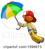Poster, Art Print Of Orange Firefighter Fireman Man Flying With Rainbow Colored Umbrella