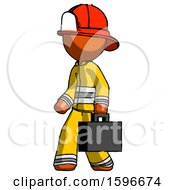 Poster, Art Print Of Orange Firefighter Fireman Man Walking With Briefcase To The Left