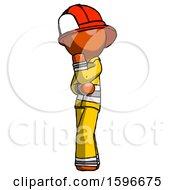 Orange Firefighter Fireman Man Thinking Wondering Or Pondering