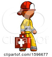 Poster, Art Print Of Orange Firefighter Fireman Man Walking With Medical Aid Briefcase To Right