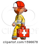 Orange Firefighter Fireman Man Walking With Medical Aid Briefcase To Left