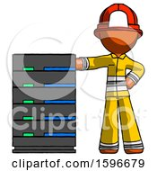 Orange Firefighter Fireman Man With Server Rack Leaning Confidently Against It