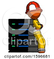 Orange Firefighter Fireman Man Resting Against Server Rack Viewed At Angle