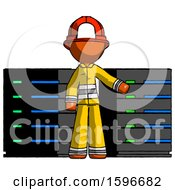 Orange Firefighter Fireman Man With Server Racks In Front Of Two Networked Systems