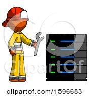 Orange Firefighter Fireman Man Server Administrator Doing Repairs