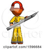Orange Firefighter Fireman Man Holding Large Scalpel