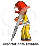 Orange Firefighter Fireman Man Cutting With Large Scalpel