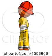 Poster, Art Print Of Orange Firefighter Fireman Man Thinking Wondering Or Pondering Rear View