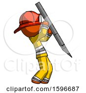 Orange Firefighter Fireman Man Stabbing Or Cutting With Scalpel
