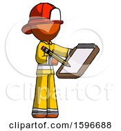 Orange Firefighter Fireman Man Using Clipboard And Pencil