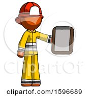 Poster, Art Print Of Orange Firefighter Fireman Man Showing Clipboard To Viewer