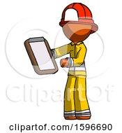 Orange Firefighter Fireman Man Reviewing Stuff On Clipboard