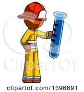 Poster, Art Print Of Orange Firefighter Fireman Man Holding Large Test Tube