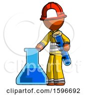 Poster, Art Print Of Orange Firefighter Fireman Man Holding Test Tube Beside Beaker Or Flask