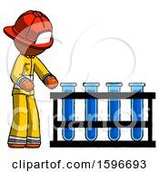 Orange Firefighter Fireman Man Using Test Tubes Or Vials On Rack