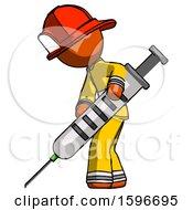 Poster, Art Print Of Orange Firefighter Fireman Man Using Syringe Giving Injection