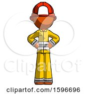 Poster, Art Print Of Orange Firefighter Fireman Man Hands On Hips
