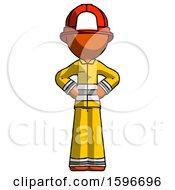 Orange Firefighter Fireman Man Hands On Hips
