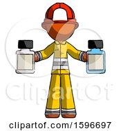 Poster, Art Print Of Orange Firefighter Fireman Man Holding Two Medicine Bottles