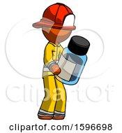 Orange Firefighter Fireman Man Holding Glass Medicine Bottle