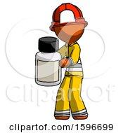 Orange Firefighter Fireman Man Holding White Medicine Bottle