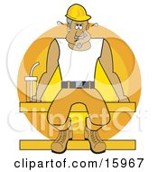 Sweaty Male Construction Worker In A Hardhat Seated On A Beam With A Water Bottle While On Break During A Hot Day