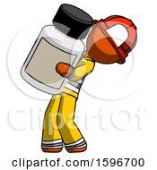 Orange Firefighter Fireman Man Holding Large White Medicine Bottle