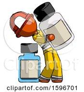 Orange Firefighter Fireman Man Holding Large White Medicine Bottle With Bottle In Background