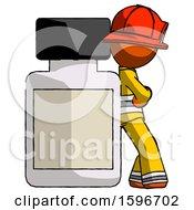 Orange Firefighter Fireman Man Leaning Against Large Medicine Bottle