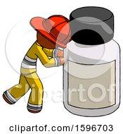 Poster, Art Print Of Orange Firefighter Fireman Man Pushing Large Medicine Bottle