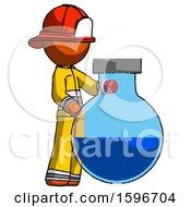 Orange Firefighter Fireman Man Standing Beside Large Round Flask Or Beaker