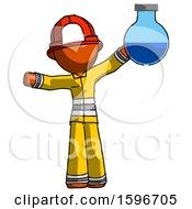 Poster, Art Print Of Orange Firefighter Fireman Man Holding Large Round Flask Or Beaker