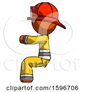 Poster, Art Print Of Orange Firefighter Fireman Man Sitting Or Driving Position