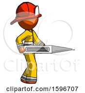Poster, Art Print Of Orange Firefighter Fireman Man Walking With Large Thermometer