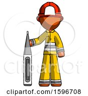 Orange Firefighter Fireman Man Standing With Large Thermometer