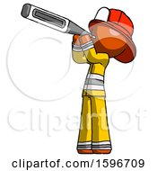 Poster, Art Print Of Orange Firefighter Fireman Man Thermometer In Mouth