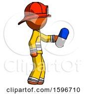 Poster, Art Print Of Orange Firefighter Fireman Man Holding Blue Pill Walking To Right