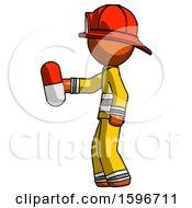 Orange Firefighter Fireman Man Holding Red Pill Walking To Left