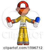 Poster, Art Print Of Orange Firefighter Fireman Man Holding A Red Pill And Blue Pill