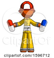 Orange Firefighter Fireman Man Holding A Red Pill And Blue Pill