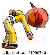Poster, Art Print Of Orange Firefighter Fireman Man Picking Something Up Bent Over