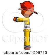 Poster, Art Print Of Orange Firefighter Fireman Man Pointing Left