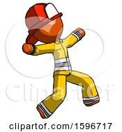 Orange Firefighter Fireman Man Running Away In Hysterical Panic Direction Right