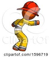 Orange Firefighter Fireman Man Sneaking While Reaching For Something