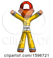 Poster, Art Print Of Orange Firefighter Fireman Man Surprise Pose Arms And Legs Out