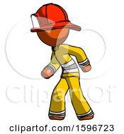 Poster, Art Print Of Orange Firefighter Fireman Man Suspense Action Pose Facing Left